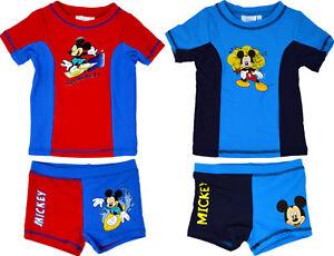 Official Mickey Mouse Boy's Swim Suit Disney Swimming Beachwear Short Shirt Set