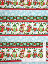 Christmas Owl Snow Stripe Cotton Fabric Owl Be Home For Christmas SPX ~ Yard
