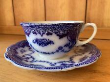 Beautiful Antique Floral Petrus Regout & Co Maastricht Teacup & Saucer Flow Blue