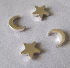 Mexican 925 Silver Taxco Thick Crescent Moon Star TWO Pair Small Post Earrings