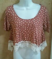 O'Neill Women's Brown Polka Dot Cropped T-Shirt Knit Top w/ Lace Hemline XS