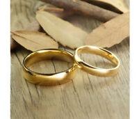 Lote 2 Alianzas de boda en carburo de Tungsteno con recubrimiento color oro IP