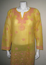New India Chikan Lucknow Cotton Kurta Kurti Pink Embroidery Yellow Ladies Top