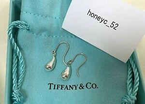 Auth TIFFANY & Co. Teardrop Dangle Earrings  Peretti sterling Silver 925 *DHL*