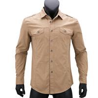 New Military style Mens Luxury Casual Long sleeves Slim Dress Shirts XT412