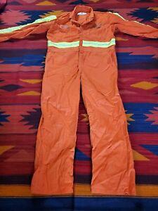 RED KAP Mens Safety Blaze Orange Work Coveralls Size 48 Regular Uniform Work