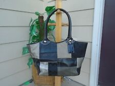 COACH LARGE BLEEKER PATCHWORK TOTE PURSE F14045 BLACK TAUPE GRAY LEATHER SUEDE