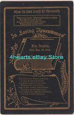 G15-1062 Ella Bull Bradeen - Beloit, WI Elgin, IL - memorial card & unid'd photo