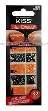 32 KISS Nail Dress BLACK+ORANGE+CATS+STARS Art Strips/Appliques HALLOWEEN #62178