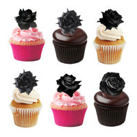 30 Halloween Themed Black Roses Flowers Edible Wafer Paper Cupcake Cake Toppers