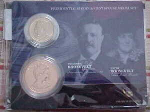 2013 Theodore & Edith Roosevelt Presidential Dollar Coin//First Spouse Medal Set