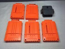 (S) Lot of 5 Nerf Soft Dart Gun 6 Round Magazine Clips - Solid Orange *USED*