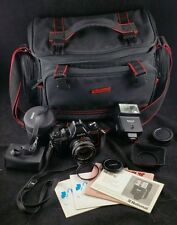 Konica TCX DX SLR Camera Bundle, Hexanon AR 28mm Lens, Flash, Bag, Instructions