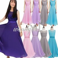 Kid Girl Princess Wedding Bridesmaid Party Pageant Prom Ball Gown Maxi Dress