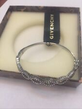Bangle Bracelet Nwt Msrp $58 Givenchy Silver-Tone Blue Crystal Stone Hinged