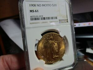 GOLD   1908 NO MOTTO SAINT GAUDENS DOUBLE EAGLE  NGC  MS-61   IT LOOKS BEAUTIFUL