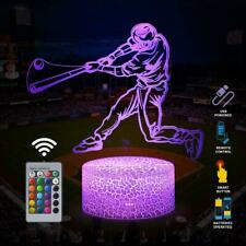 Baseball Man 3D Lamp Night Light with Remote Touch Control,Multiple Colour F