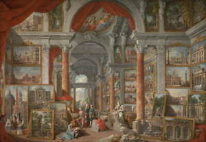 Giovanni Panini Picture Gallery with Views of Modern Rome Giclee Canvas Print