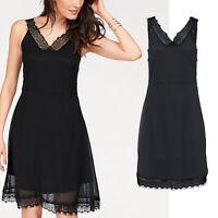genial sexy Abend Chiffon Kleid SCHWARZ CASUAL Büro Spitze DRESS Gr.36/38 S/M
