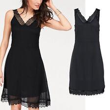 genial Abend Chiffon Kleid SCHWARZ CASUAL Büro Spitze DRESS Gr.34/36 XS/S