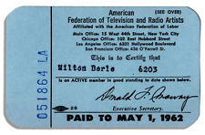Milton Berle AFTRA Membership Card From 1962