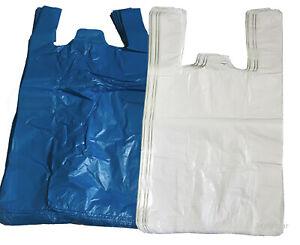 PLASTIC VEST CARRIER BAGS BLUE OR WHITE SUPERMARKETS STALLS SHOPS
