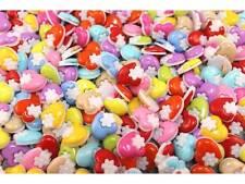 50 Kinderknöpfe Knöpfe Herz mit Blume 14mm Farbmix #9290