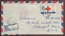 JAMAICA REGISTERED MYERS WHARF 1963 RED CROSS 1/6 to CHICAGO UNIVERSAL ETIQUETTE