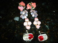 Lot of 4 Vintage Plasti/Lucite Earrings Gold & Silver Plated Unknown