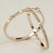 18K gold GP made with swarovski crystal hoop earrings bling bling sparkling