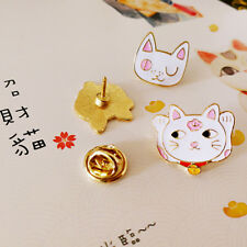 3pcs Japanese Style Fortune Cat Breast Pin Cute White Kitty Brooch Pin