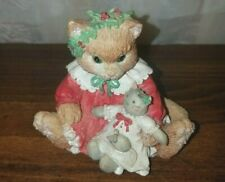 1993 Enesco Calico Kittens Dressed In Our Holiday Best Figurine
