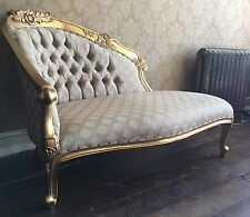 Mahogany Antique Gold Leaf Golden Olive Green French Loveseat Sofa Chaise Longue