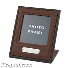 Personalised DESK or OFFICE PHOTO Picture FRAME in stitched brown LEATHER