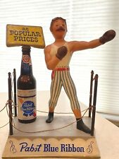 Vintage Pabst Blue Ribbon display, metal boxing ring with boxer and beer bottle