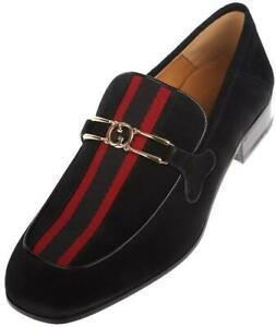 NEW GUCCI MEN'S BLACK SUEDE INTERLOCKING G LOGO WEB LOAFERS SHOES 10/US 10.5