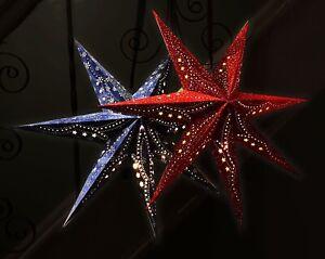 Hanging velvet star light shade red or blue 7 point with LEDs Christmas-60cm-NEW