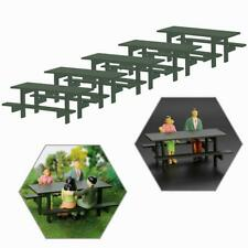 5pcs 1:25 Model Table Chair Outdoor G Scale Camping Moss Green Table Bench Seats