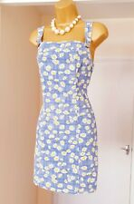 Denim Blue Daisy Cotton Summer Holiday Picnic Dunagree Pinafore Dress Size 12