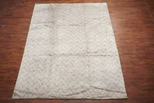 9X12 Modern Moroccan Area Rug Zigzag Design Hand-Knotted Wool Carpet (9.1 x 11.9