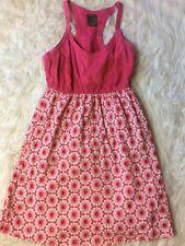 Fei Womens size 6 red floral knee-length Cotton beach Sleeveless sun dress