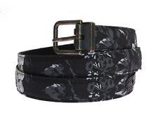 NEW DOLCE & GABBANA Belt Black Cayman Linen Leather Waist s. 85cm / 3