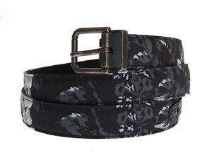 NEW DOLCE & GABBANA Belt Black Linen Leather Waist Floral Print 100cm/4