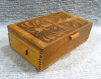 Hand Carved Old Handcrafted Mortise Corner Solid Wood Jewelry Box Mirror FREE SH