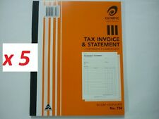 5x Olympic Tax Invoice & Statement book 726 copymate carbonless 50's Duplicate