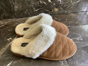 Clarks Slippers Lined Size 10 M Womens Brown Chestnut Suede Slip On