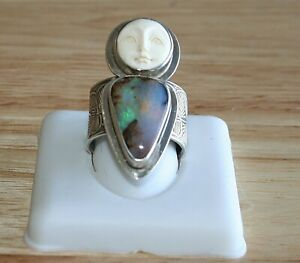 Stunning Tabra Boulder Opal & Moon Goddess Face Ring!