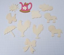 Arts Craft Wood Pieces Cut Out Glue On Decor  Lion Chicken Rooster Sun Michaels
