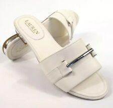 Ralph Lauren Davan Slide Slip On Flat Sandals Silver White Leather Size 8 New