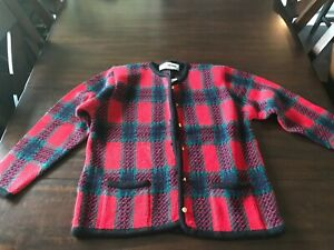 Women's Size Medium Crystal Kobe Red, Black, and Green Button Down Sweater